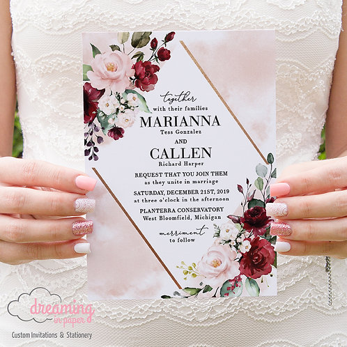 Bursting Burgundy Blush Eucalyptus Copper Diamond Wedding Invitations 259