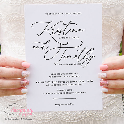 Modern Black and White Minimalist Wedding Invitations 340