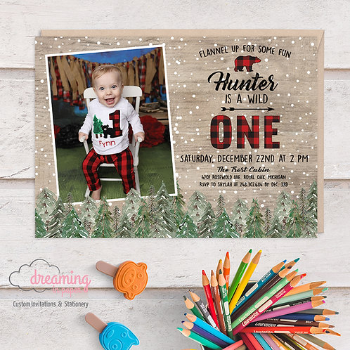 Wild ONE Buffalo Plaid Pine Trees Winter Birthday Party Invitation with PHOTO