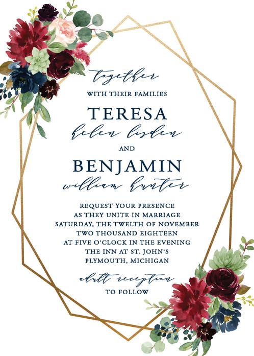 Boho Navy Burgundy Geometric Wedding Invitation