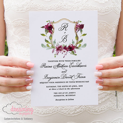 Burgundy Floral Golden Wedding Crest Invitations 269