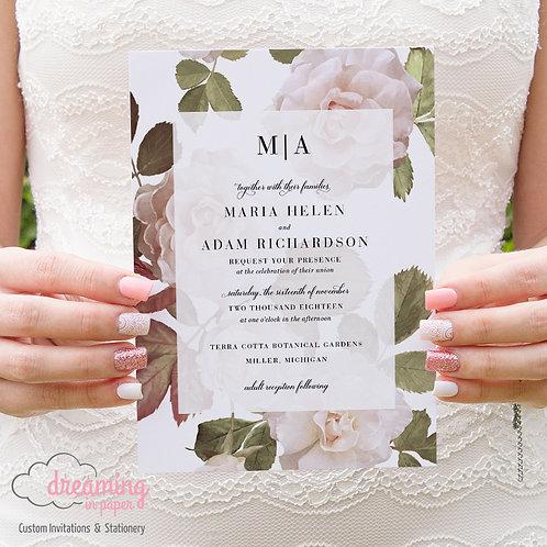 Antique Watercolor Roses Modern Serif Wedding Invitation