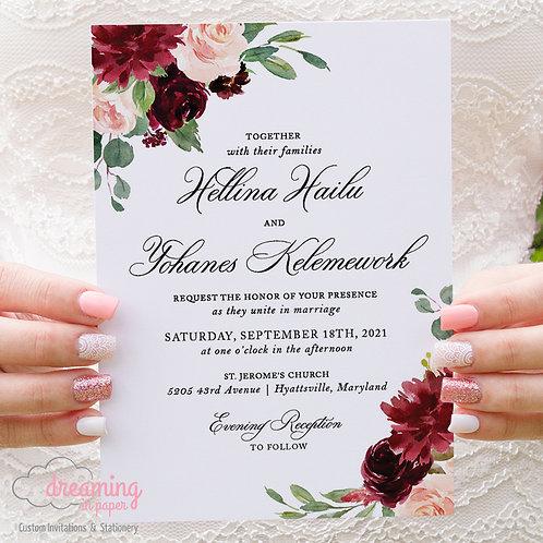 Formal Burgundy Floral Wedding Invitations 160