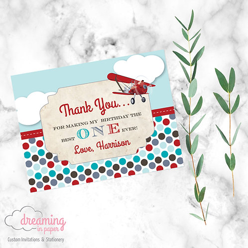 Red Airplane Birthday Thank You Card