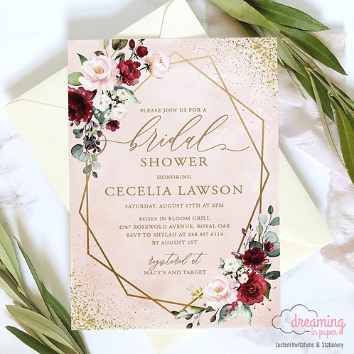 Blush Watercolor Burgundy Gold Geometric Bridal Shower Invitation 241
