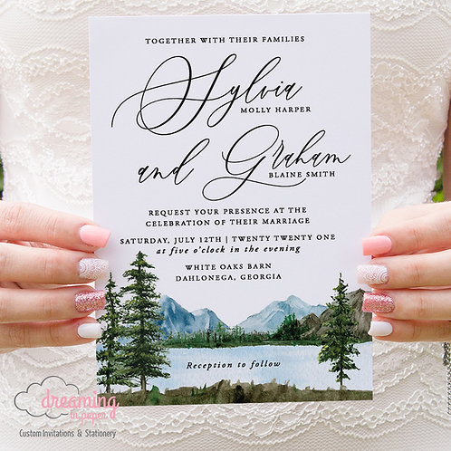 Lake Forest Pine Trees Green Watercolor Wedding Invitation Set 372