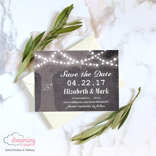 Rustic Glowing Lights and Tree Save the Dates
