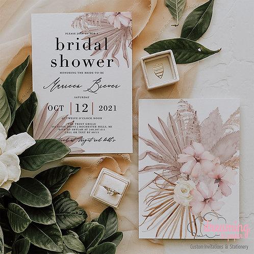 boho bride, boho shower, boho bridal, dried floral, pampas invite, pampass invite