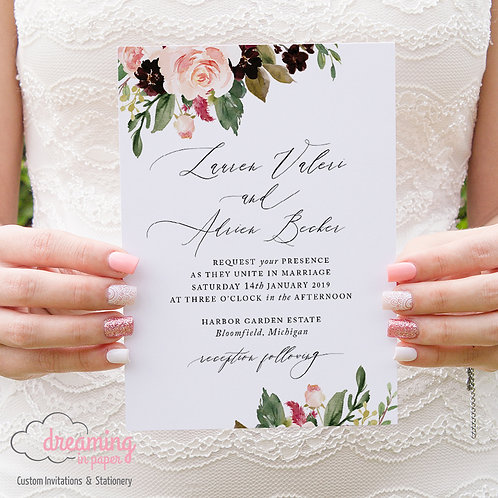 Blush Burgundy Romantic Floral Wedding Invitations