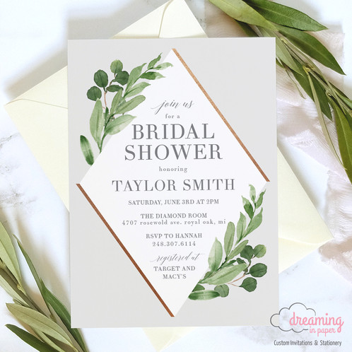bridal shower invitation white diamond greenery modern geometric