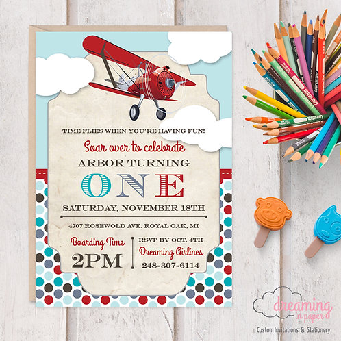 Vintage Airplane Aviation Birthday Invitation - Red Teal Gray Blue