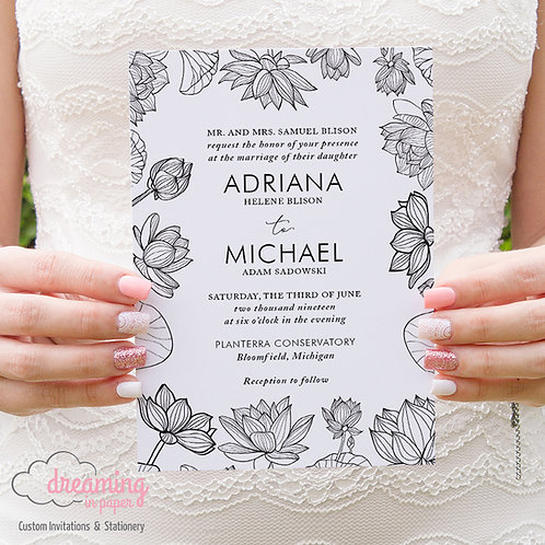 Modern Black and White Floral Wedding Invitation 204