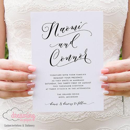 Modern Aidan Script Calligraphy Wedding Invitation