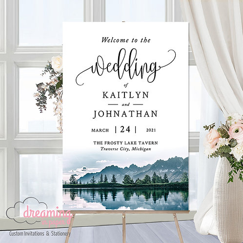 Rustic Mountain Lake Trees Wedding Invitations Welcome Sign 311