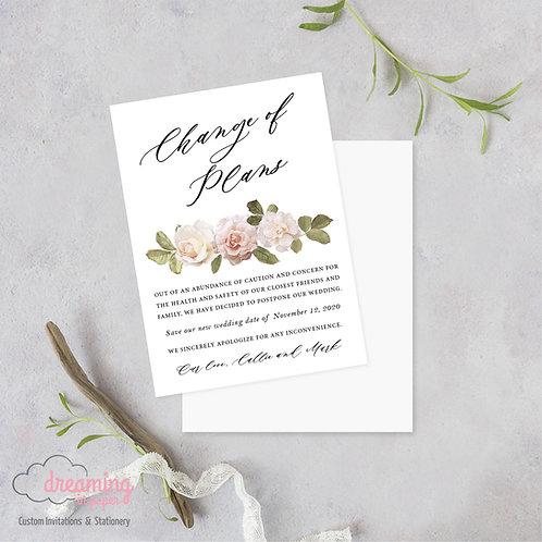 Antique Roses Change of Plans Wedding Date Change Postponement Cards