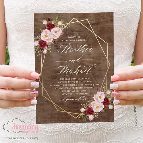 Rustic Boho Burgundy Blush Gold Geometric Wedding Invitations