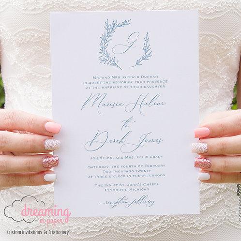 Botanical Fine Art Classic Monogram Wedding Invitations 276