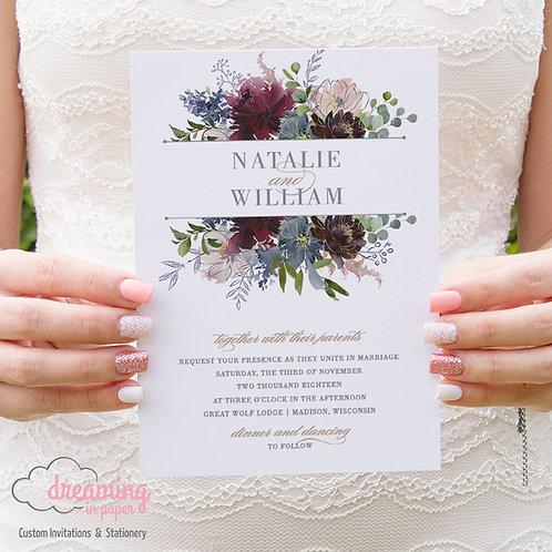 Navy & Burgundy Floral Wedding Invitation 112