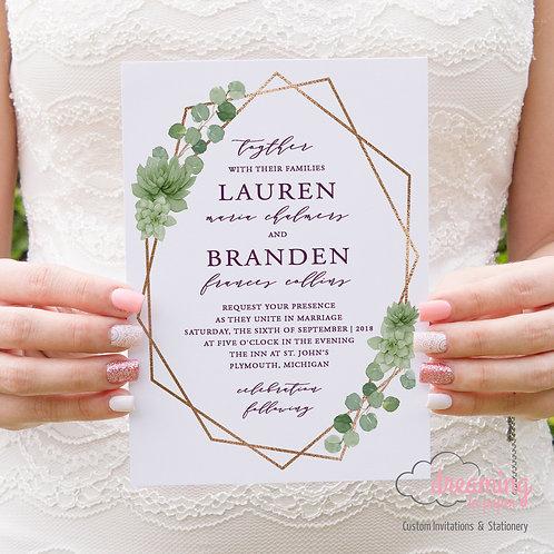 Greenery Geometric Succulents Copper Plum Wedding Invitation Set 069PC