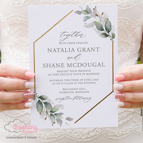 Greenery Hexagon Wedding, Greenery Invitations, Hexagon Invites, Geometric Invites, Gold Geometric