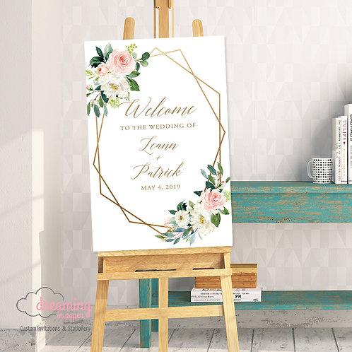 Blush Ethereal Geometric Wedding Welcome Sign