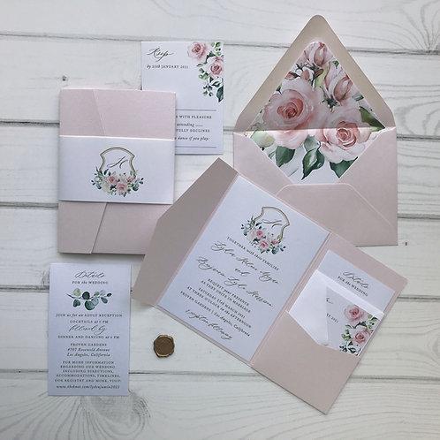 Blush and Gold Sunny Lisima Floral Pocket Wedding Invitations 300P