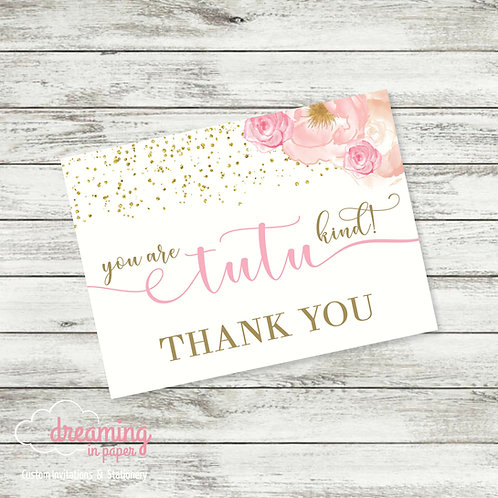 Thank You Card - Coordinates with Tutu Excited Baby Shower