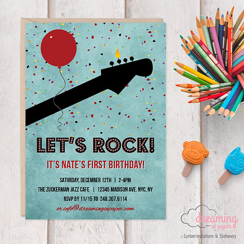 Let's Rock Bass Guitar Music Theme Birthday Invitation