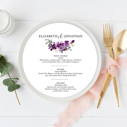 Purple Plum Garden Garamond Circle Wedding Menu