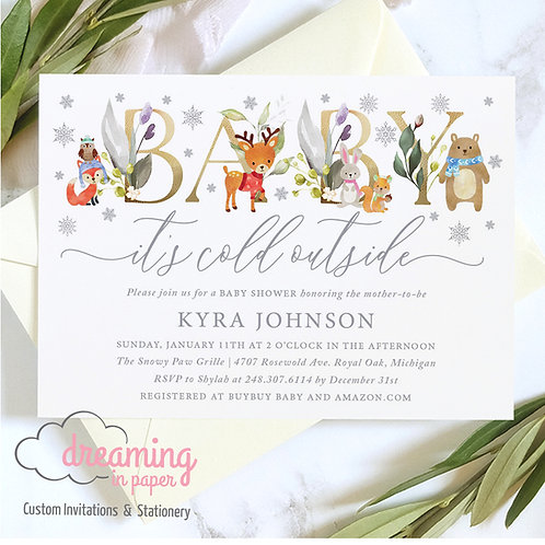Baby It's Cold Outside BABY Woodland Animals Baby Shower Invitations