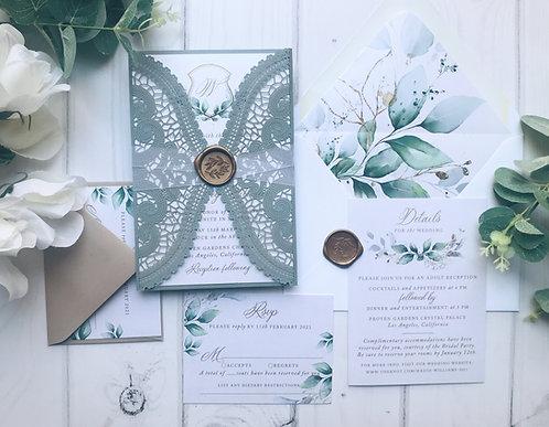 Dusty Blue Green Wedding Invitations 419