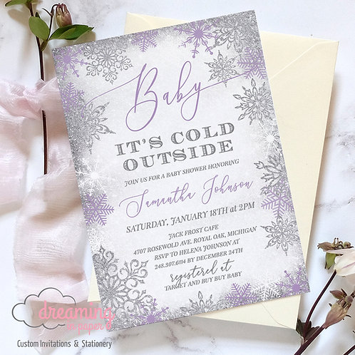 Baby It's Cold Outside Silver Purple Frost Baby Shower Invitations