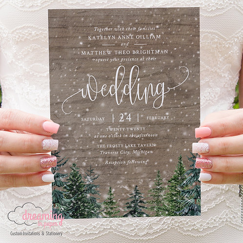 Rustic Winter Wood & Forest Wedding Invitations 316
