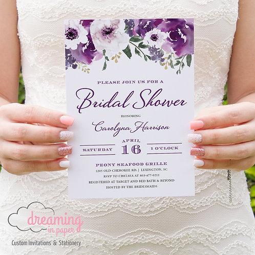 Blossoms Purple / Violet / Plum Watercolor Floral Bridal Shower Invitation