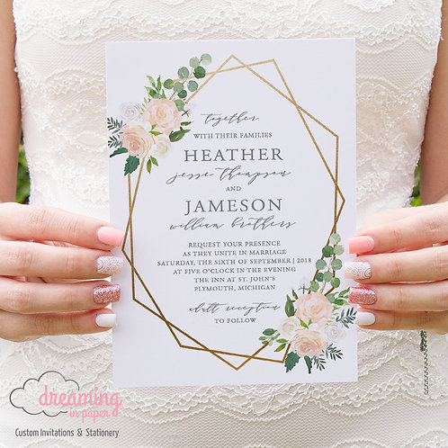 Gold Geometric with Floral and Greenery Wedding Invitations