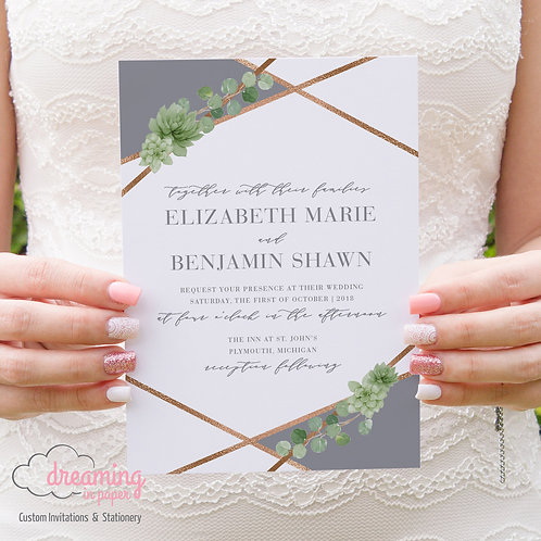 Geometric Copper and Greenery with Succulents Wedding Invitation Set
