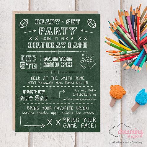 Football Chalkboard Birthday Invitations