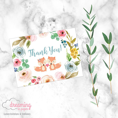 Baby Fox Twins Thank You Card