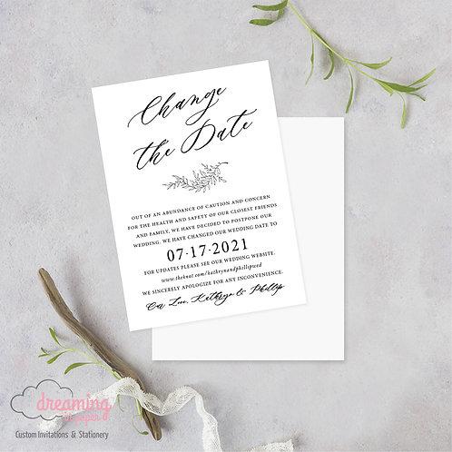 Change the Date Wedding Date Change Postponement Cards