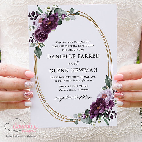 Gold Ovals Deep Velvet Purple Floral Wedding Invitations 358