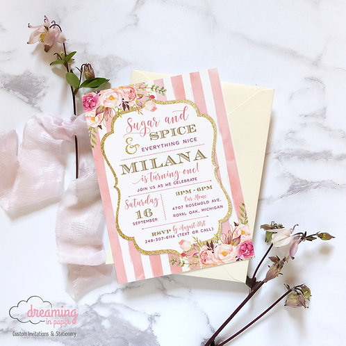 Sugar and Spice Pink Striped Birthday Invitation