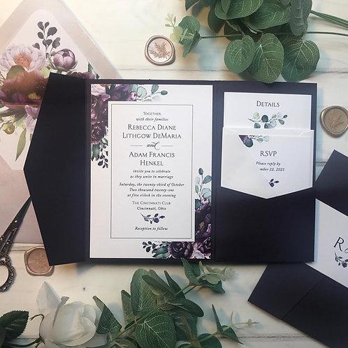 Deep Purple Plum Floral Amethyst Pocket Wedding Invitations