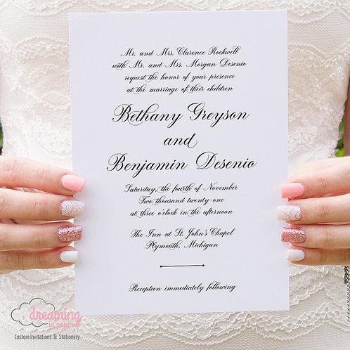 Stunning Script Traditional Classic Wedding Invitations 433