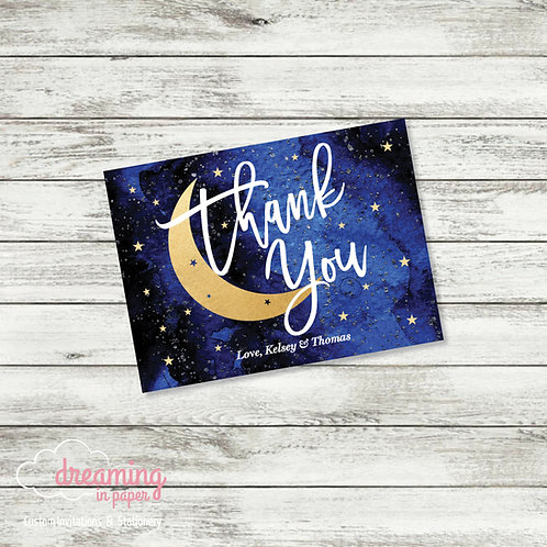 Over the Moon Baby Shower Thank You Card
