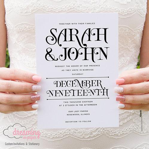 Modern Type Decorative Letters Wedding Invitation