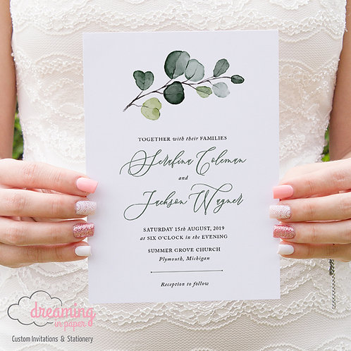 Classic Eucalyptus Greenery Sprig Wedding Invitaitons 248