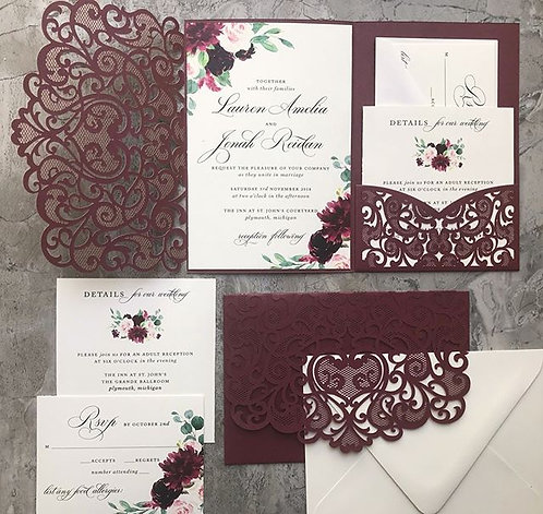 Shimmering Burgundy Laser Cut Pocket Wedding Invitations 160LC