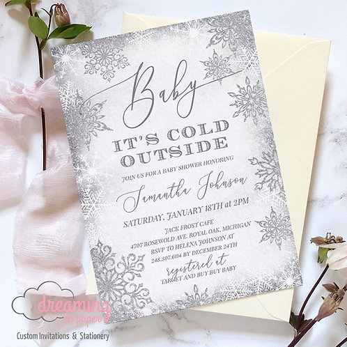 Baby It's Cold Outside Silver Frost Baby Shower Invitations