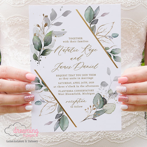 Gentle Greenery and Gold Diamond Lisima Wedding Invitations 335