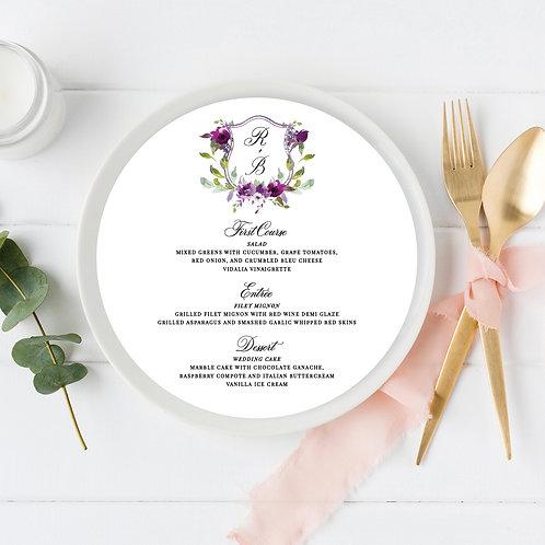 Purple Watercolor Crest Circle Wedding Menu